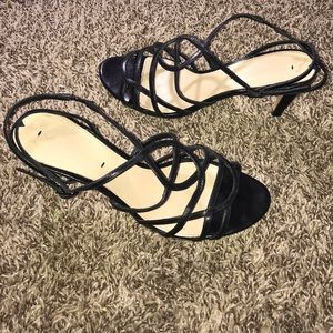 Via Spiga Black Strappy Heeled Leather Sandals